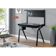 I 7034 COMPUTER -DRAFTING TABLE - ADJUSTABLE / GREY METAL / TEMPERED GLASS