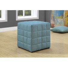 I 8897 OTTOMAN - LIGHT BLUE LINEN-LOOK FABRIC