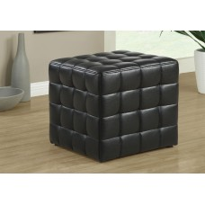 I 8977 OTTOMAN - BLACK LEATHER-LOOK FABRIC