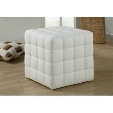 I 8978 OTTOMAN - WHITE LEATHER-LOOK FABRIC