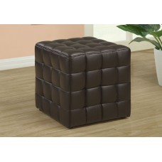I 8980 OTTOMAN - DARK BROWN LEATHER-LOOK FABRIC