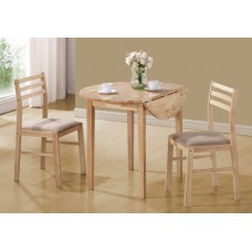 "I 1006 DINING SET - 3PCS SET / NATURAL WITH A 36""DIA DROP LEAF"