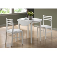 "I 1008 DINING SET - 3PCS SET / WHITE WITH A 36""DIA DROP LEAF"