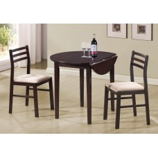 "I 1009 DINING SET - 3PCS SET / 36""DIA / CAPPUCCINO W/ DROP LEAF"