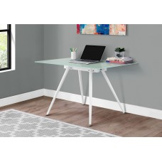"I 1032 COMPUTER DESK - 28""X 48"" / WHITE / 8MM TEMPERED GLASS"
