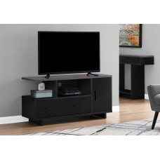 "I 2801 TV STAND - 48""L / BLACK / GREY TOP WITH STORAGE"