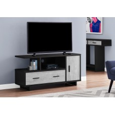 "I 2804 TV STAND - 48""L / BLACK / GREY RECLAIMED WOOD-LOOK"