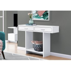 """I 2812 ACCENT TABLE - 48""""L / WHITE WITH DRAWERS"""