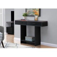 """I 2813 ACCENT TABLE - 48""""L / BLACK / GREY TOP WITH DRAWERS"""
