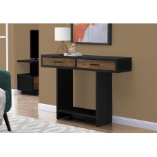 """I 2815 ACCENT TABLE - 48""""L / BLACK / BROWN RECLAIMED WOOD-LOOK"""