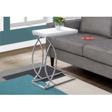I 3184 ACCENT TABLE - GLOSSY WHITE WITH CHROME METAL