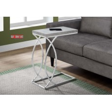 I 3185 ACCENT TABLE - GREY CEMENT WITH CHROME METAL