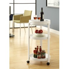 I 3345 HOME BAR - WHITE CART WITH A SERVING TRAY ON CASTORS