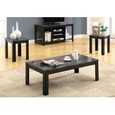 I 7843 P TABLE SET - 3PCS SET / BLACK / GREY MARBLE-LOOK TOP