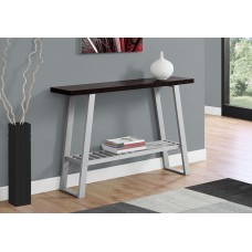 "I 2116 ACCENT TABLE - 48""L / CAPPUCCINO / SILVER HALL CONSOLE"