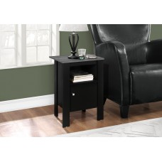 I 2134 ACCENT TABLE - BLACK / GREY TOP NIGHT STAND WITH STORAGE