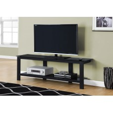"""I 2500 TV STAND - 60""""L / BLACK METAL WITH BLACK TEMPERED GLASS"""