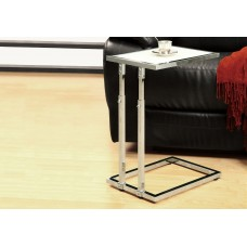 I 3012 ACCENT TABLE - CHROME METAL ADJUSTABLE HEIGHT / TEMPERED