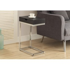 I 3019 ACCENT TABLE - CAPPUCCINO / CHROME METAL WITH A DRAWER
