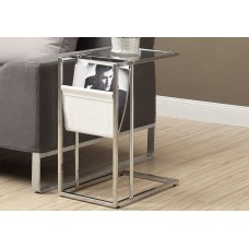 I 3034 ACCENT TABLE - WHITE / CHROME METAL WITH A MAGAZINE RACK