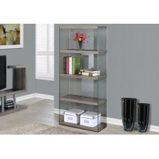 """I 3060 BOOKCASE - 60""""H / DARK TAUPE WITH TEMPERED GLASS"""