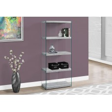 """I 3233 BOOKCASE - 60""""H / GREY CEMENT WITH TEMPERED GLASS"""
