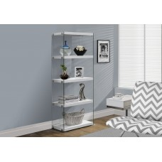 """I 3289 BOOKCASE - 60""""H / GLOSSY WHITE WITH TEMPERED GLASS"""