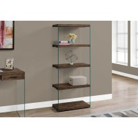 "I 7441 BOOKCASE - 60""H / BROWN RECLAIMED WOOD-LOOK /GLASS PANELS"