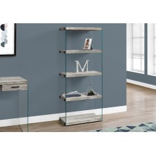 "I 7442 BOOKCASE - 60""H / GREY RECLAIMED WOOD-LOOK /GLASS PANELS"