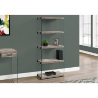 "I 7443 BOOKCASE - 60""H / TAUPE RECLAIMED WOOD-LOOK /GLASS PANELS"