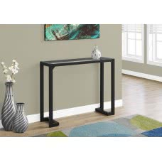 "I 2106 ACCENT TABLE - 42""L / BLACK / TEMPERED GLASS HALL CONSOLE"