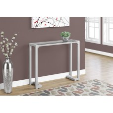 "I 2107 ACCENT TABLE - 42""L / SILVER /TEMPERED GLASS HALL CONSOLE"