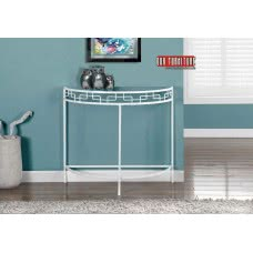 "I 2112 ACCENT TABLE - 36""L / WHITE METAL HALL CONSOLE"