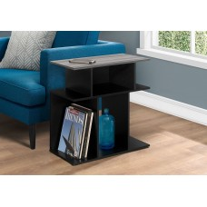 """I 2477 ACCENT TABLE - 24""""H / BLACK / GREY TOP"""