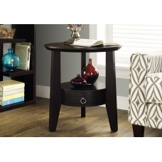 "I 2491 ACCENT TABLE - 23""DIA / CAPPUCCINO WITH 1 DRAWER"