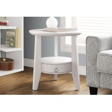 "I 2492 ACCENT TABLE - 23""DIA / WHITE WITH 1 DRAWER"
