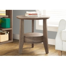 "I 2493 ACCENT TABLE - 23""DIA / DARK TAUPE WITH 1 DRAWER"