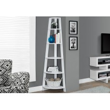 "I 2496 BOOKCASE - 72""H / WHITE CORNER ACCENT ETAGERE (in stock)"