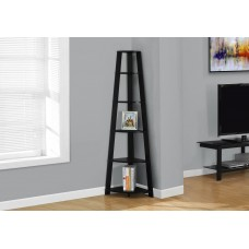 "I 2499 BOOKCASE - 72""H / BLACK CORNER ACCENT ETAGERE"