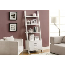 """I 2562 BOOKCASE - 69""""H / WHITE LADDER WITH 2 STORAGE DRAWERS"""