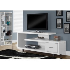"""I 2573 TV STAND - 60""""L / WHITE WITH 1 DRAWER"""