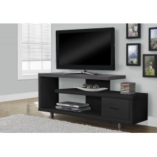 """I 2575 TV STAND - 60""""L / BLACK / GREY TOP WITH 1 DRAWER"""