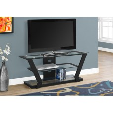 """I 2588 TV STAND - 48""""L / BLACK METAL WITH TEMPERED GLASS"""