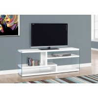 """I 2690 TV STAND - 60""""L / GLOSSY WHITE WITH TEMPERED GLASS"""