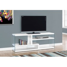 "I 2690 TV STAND - 60""L / GLOSSY WHITE WITH TEMPERED GLASS"