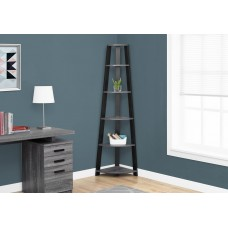 "I 2750 BOOKCASE - 72""H / GREY-BLACK CORNER ACCENT ETAGERE"
