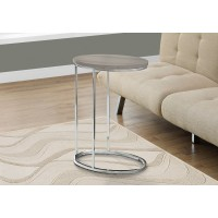I 3241 ACCENT TABLE - OVAL / DARK TAUPE WITH CHROME METAL