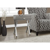 """I 3263 ACCENT TABLE - 24""""H / DARK TAUPE / CHROME METAL"""
