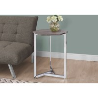 I 3276 ACCENT TABLE - HEXAGON / DARK TAUPE / CHROME METAL