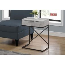 "I 3472 ACCENT TABLE - 24""H / GREY CEMENT / BLACK NICKEL METAL"